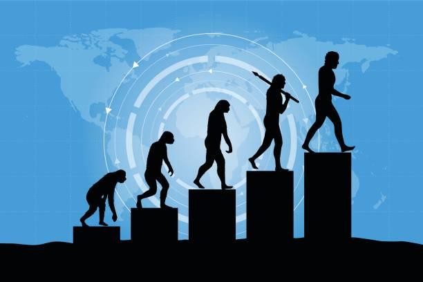 illustrazioni stock, clip art, cartoni animati e icone di tendenza di human evolution into the present - digital world. business growth. - man evolution