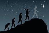 Human evolution into the present - digital world. Business growth.