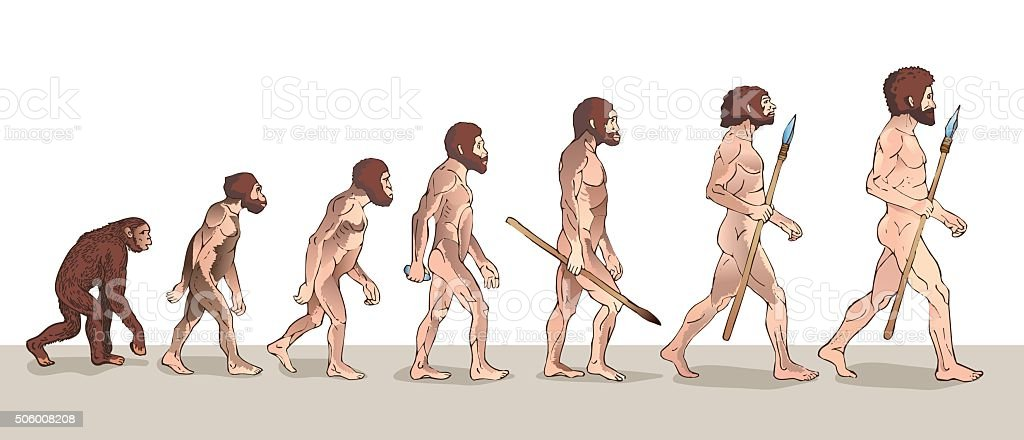 Menschliche evolution. Historische Illustrationen. – Vektorgrafik