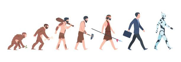 ewolucja człowieka. małpa do biznesmena i cyborg koncepcji kreskówki, od starożytnej małpy do wzrostu człowieka. ewolucja ludzkości wektorów - postęp stock illustrations