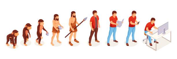 ewolucja człowieka małpy do współczesnego człowieka przy komputerze, ikony wektorowe. ewolucja ludzi i życie zmieniają postęp od małp i jaskiniowca do inteligentnego umysłu i technologii - postęp stock illustrations