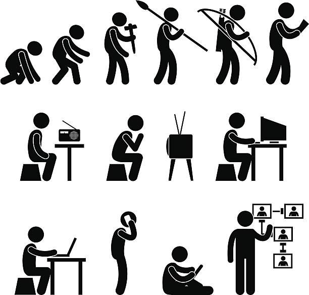menschliche evolution pictogram - computergrundlagen stock-grafiken, -clipart, -cartoons und -symbole