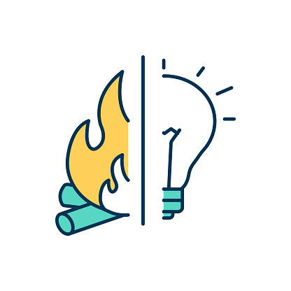 Human evolution RGB color icon. Fire control. Modern society. Human beings development. Gaining warmth and protection, cooking. Brain expansion. Surviving without fire. Isolated vector illustration