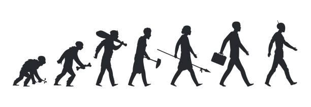 illustrazioni stock, clip art, cartoni animati e icone di tendenza di human evolution silhouette. monkey ape and caveman to businessman growing concept. vector mankind development and evolution - man evolution