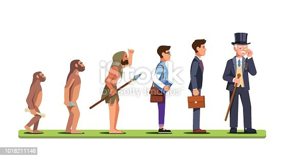 Human evolution stages from ape to a man of business. Progression of mankind from prehistoric to a capitalist business person. Flat style character isolated vector illustration on white background.