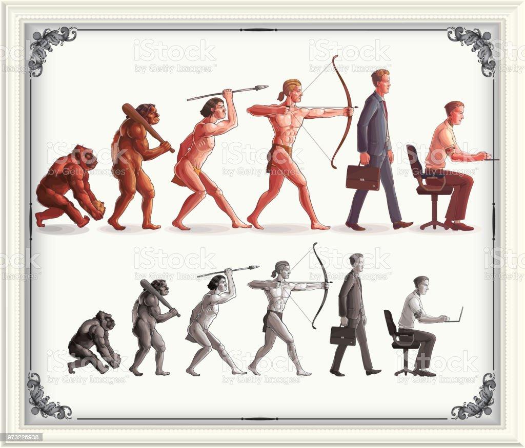 Evolução Humana - ilustração de arte em vetor