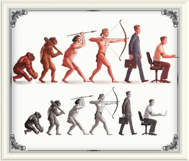 illustrazioni stock, clip art, cartoni animati e icone di tendenza di human evolution - man evolution