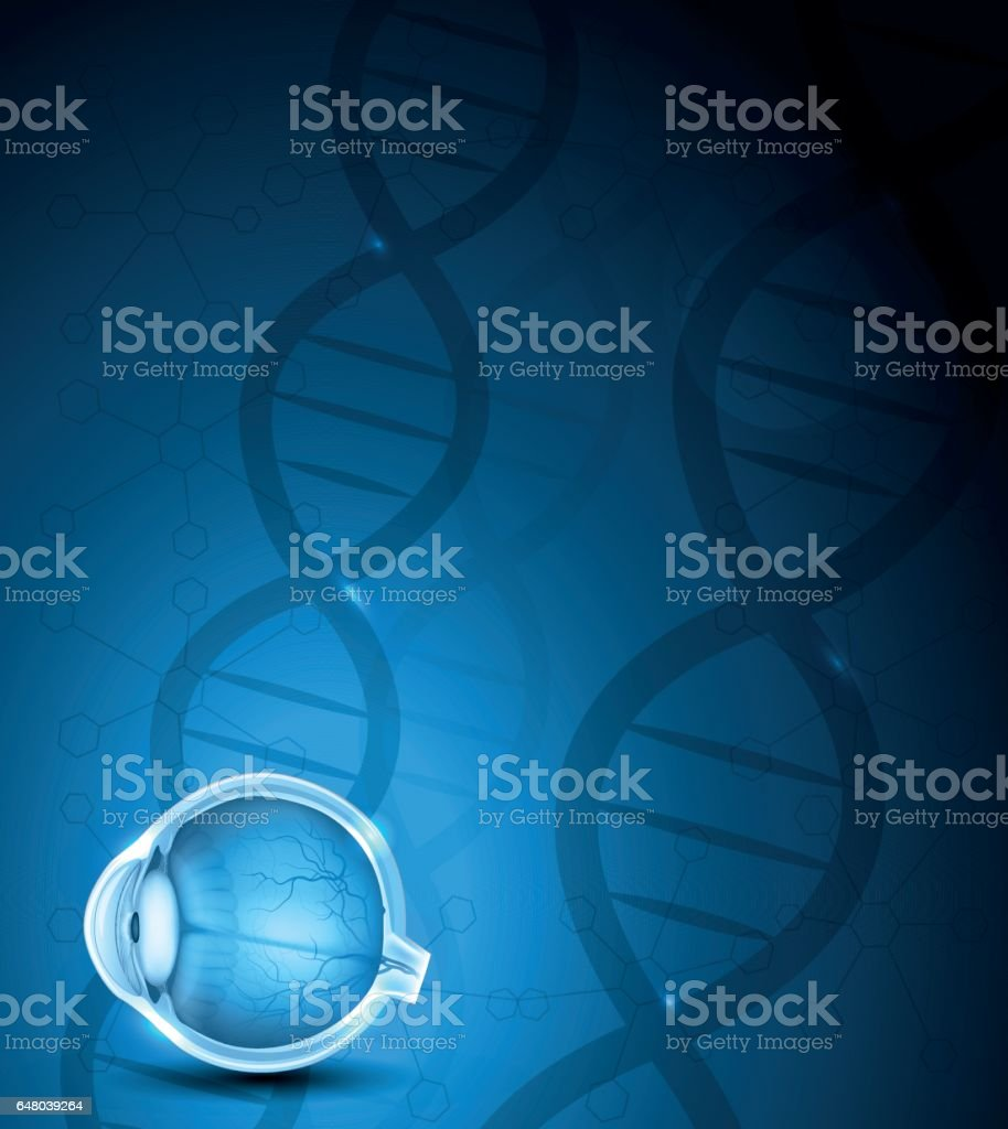 Human eye and DNA background vector art illustration