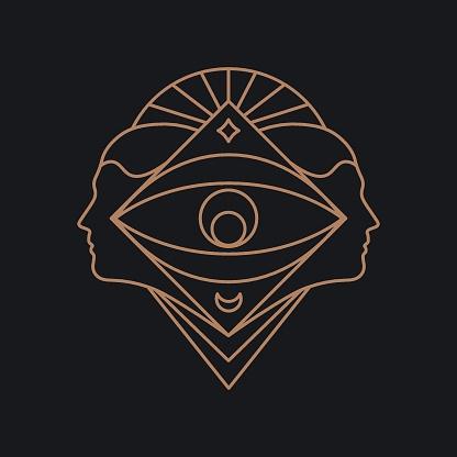 Human eye geometric symbol. Line art.