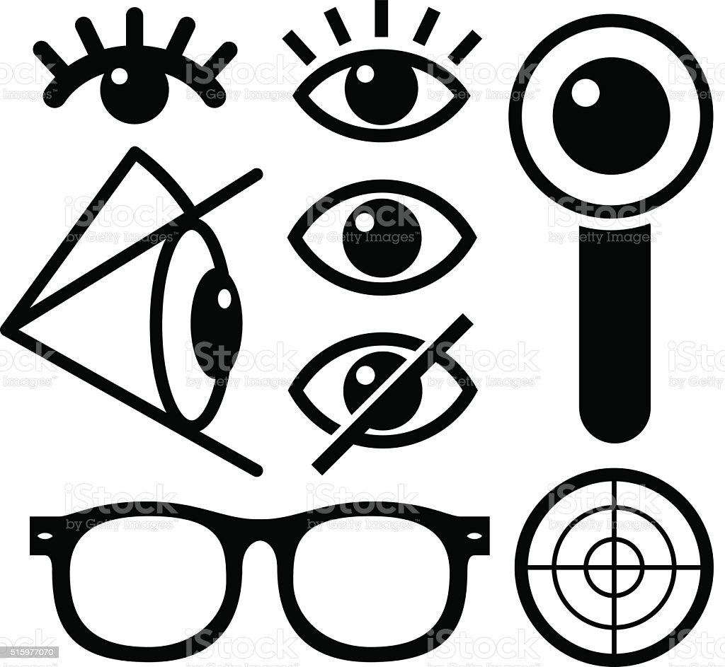 Human eye icons black vector art illustration