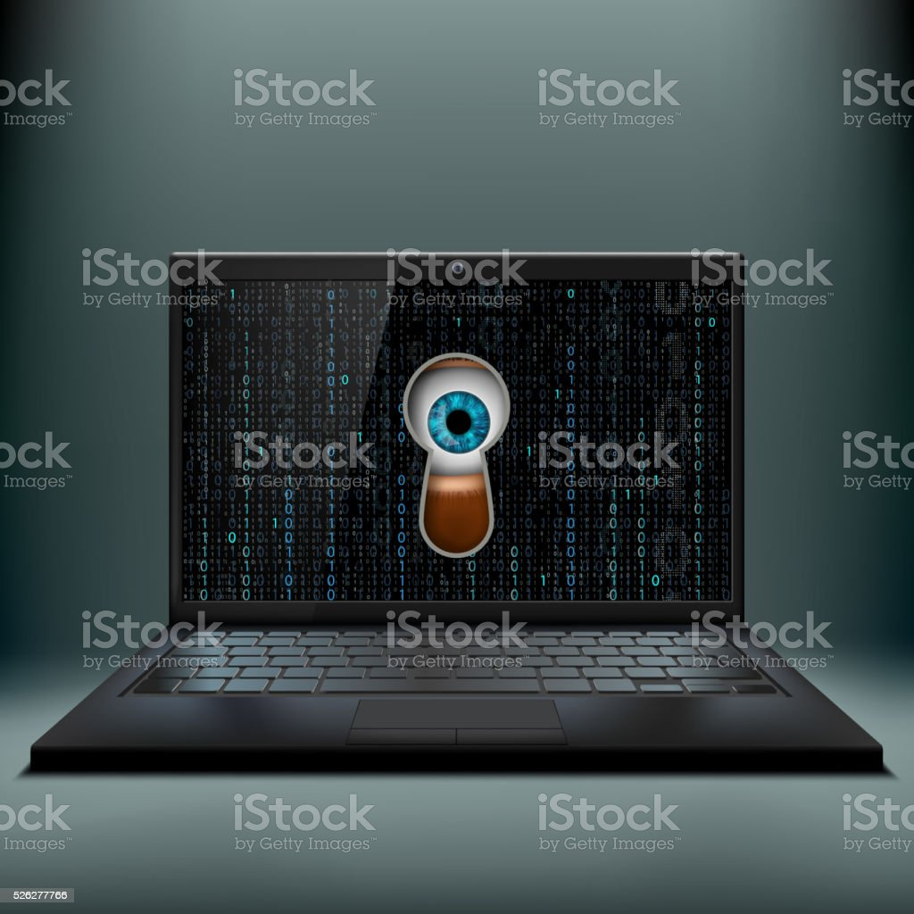 Human eye in the keyhole and a laptop. Cybercrime. vector art illustration