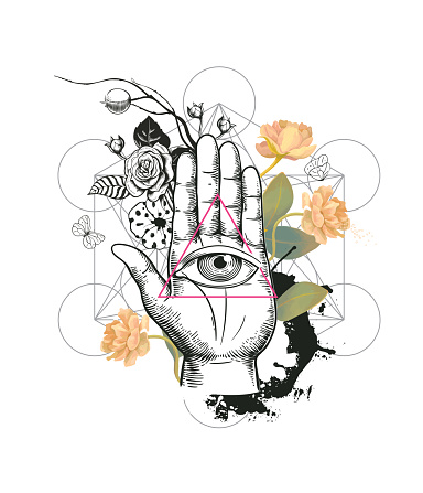 Human eye inside triangle against hand, semi-colored rose flowers and geometric figures on background. Concept of mysterious symbol. Vector illustration in hipster style for t-shirt print, banner.