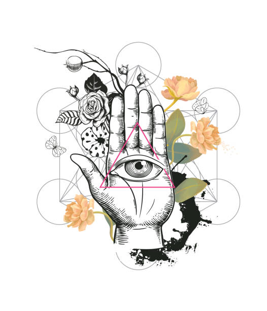 human eye inside triangle against hand, semi-colored rose flowers and geometric figures on background. concept of mysterious symbol. vector illustration in hipster style for t-shirt print, banner. - freemasons stock illustrations