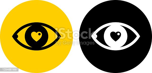 istock Human Eye with Heart Pupil Icon 1254681697