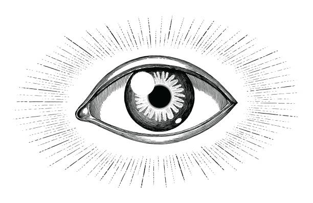 human eye with rays tattoo hand draw vintage engraving isolated on white background - глаз stock illustrations