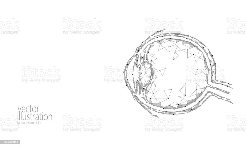 Human Eyeball 3d Render Low Poly Polygonal White Gray Monochrome Future  Medicine Technology Science Medical Poster Vision Ophthalmology Health Eye