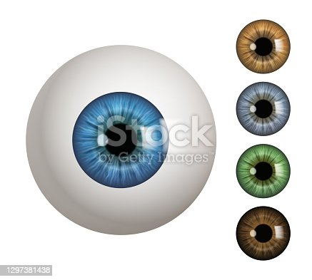 istock Human eyeball. People anatomical items macro view vision 3d medical decent vector symbols 1297381438