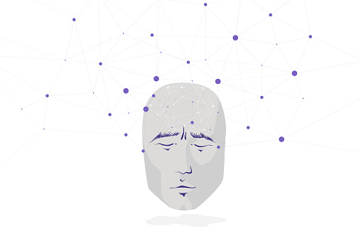 A human face and a large network of personal social connections. The neural interface and control, the concept.