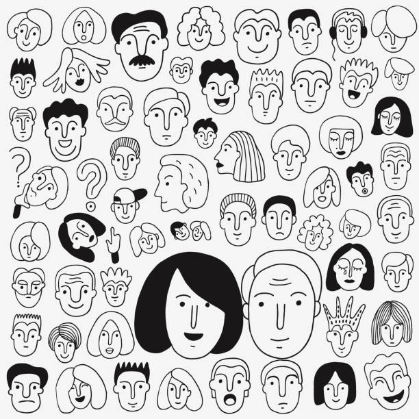 human face - doodle set ,pencil drawings - old man crying stock illustrations, clip art, cartoons, & icons