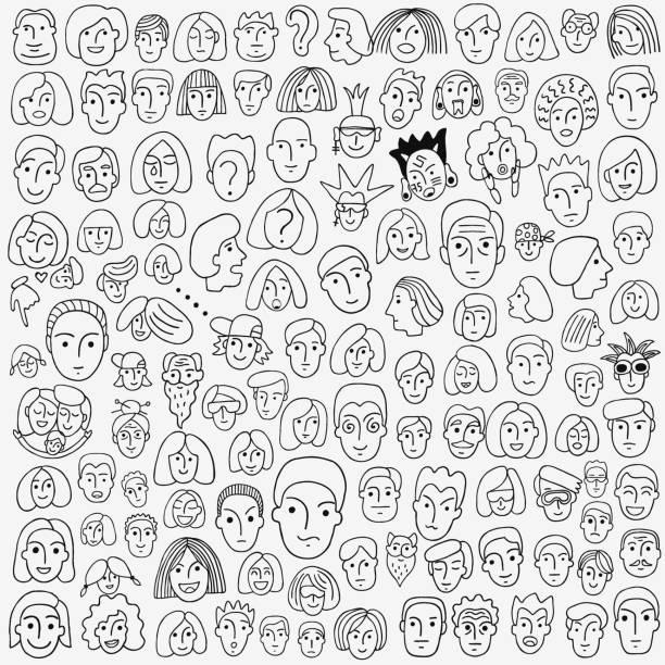 human face - hand drawn doodle set - old man crying cartoon stock illustrations, clip art, cartoons, & icons