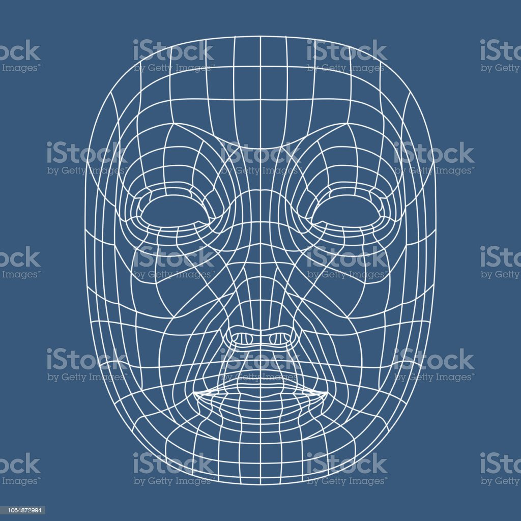 Human face mesh 3d modeling recognition head scan vector illustration vector art illustration