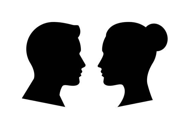 ilustrações, clipart, desenhos animados e ícones de silhueta do lado do rosto humano - cabeça