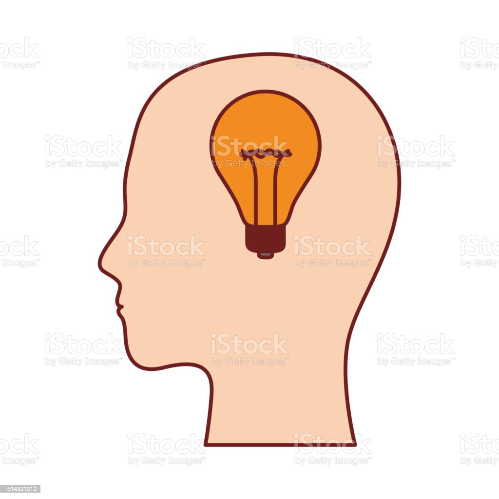 Human Face Silhouette With Light Bulb Inside In Colorful Silhouette ...