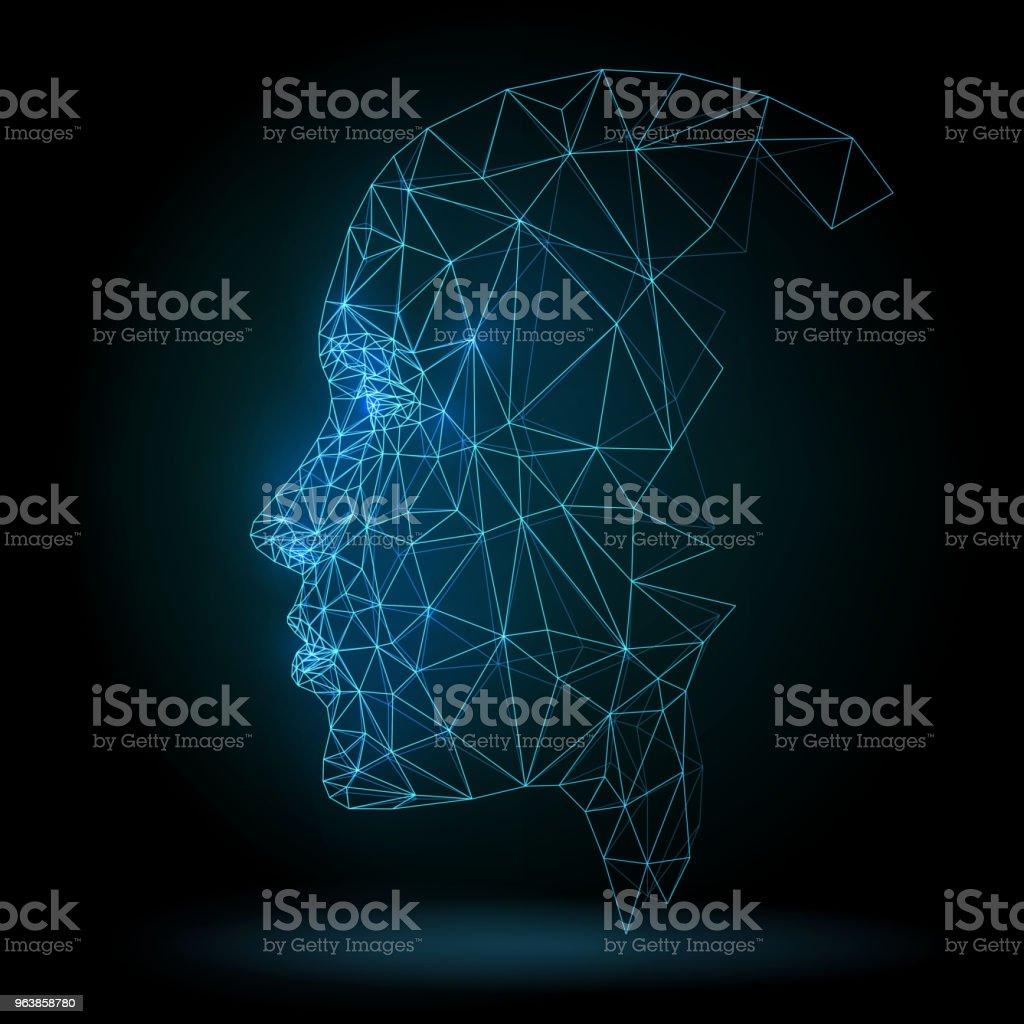 Human face, technology vector art illustration