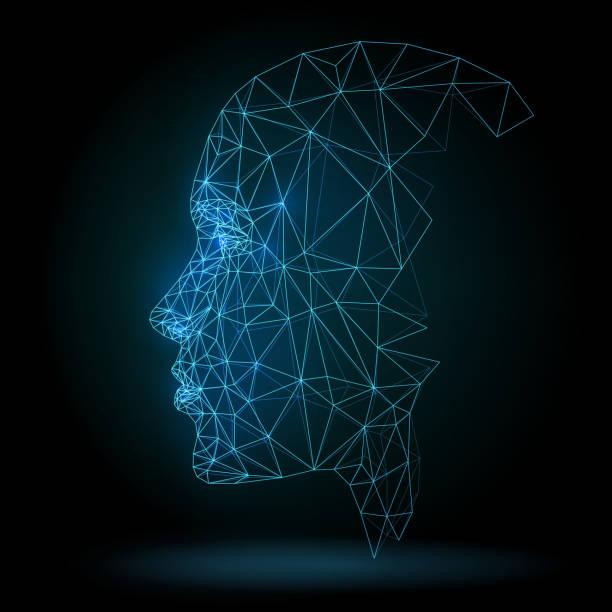 menschliches gesicht, technologie - menschlicher kopf stock-grafiken, -clipart, -cartoons und -symbole