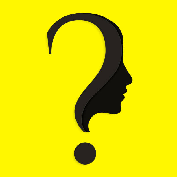 Human face with question mark. Education and innovation concept. Vector. Human face with question mark. Education and innovation concept. curiosity stock illustrations