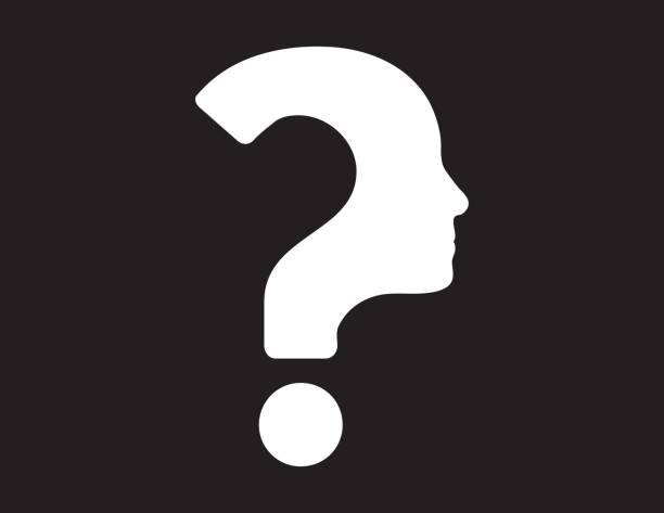 menschliches gesicht mit fragezeichen - wesen stock-grafiken, -clipart, -cartoons und -symbole