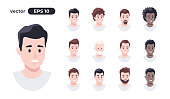 Human faces set. Man hair collection. Character face elements. Emotions: smiling, screaming. Cute cartoon people. Simple cartoon design. Simple design. Flat style vector illustration.