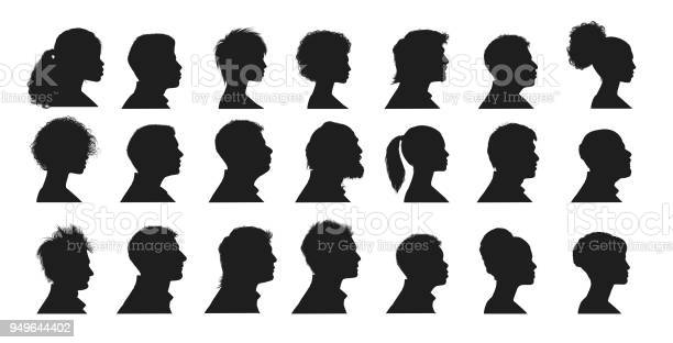 Silhouette of Human Faces side vuew