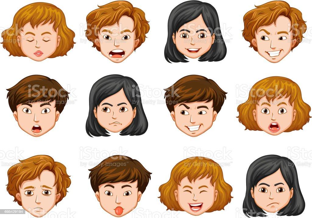 human faces with different emotions download vetor e ilustração