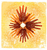 conceptual illustration of hands united in common purpose, 3 graphic elements