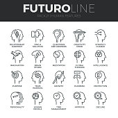 Modern thin line icons set of human mind features, characters profile identity. Premium quality outline symbol collection. Simple mono linear pictogram pack. Stroke vector symbol concept for web graphics.