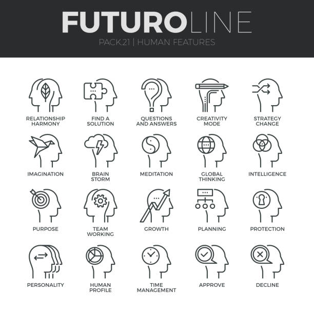 Human Features Futuro Line Icons Set vector art illustration