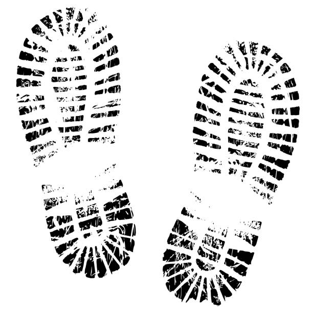 Human feet print, footprints shoe silhouette. Isolated on white background, vector icon. Footstep, steps, trail, sneaker, boot Human feet print, footprints shoe silhouette. Isolated on white background, vector icon. Footstep, steps, trail, sneaker, boot boot stock illustrations