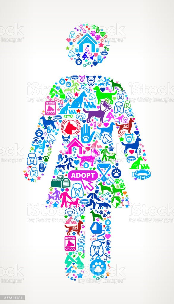 Human Female Body Dog And Canine Pet Colorful Icon Pattern Stock