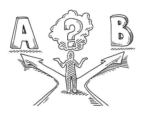 Hand-drawn vector drawing of a Human Figure Decision Concept. Black-and-White sketch on a transparent background (.eps-file). Included files are EPS (v10) and Hi-Res JPG.