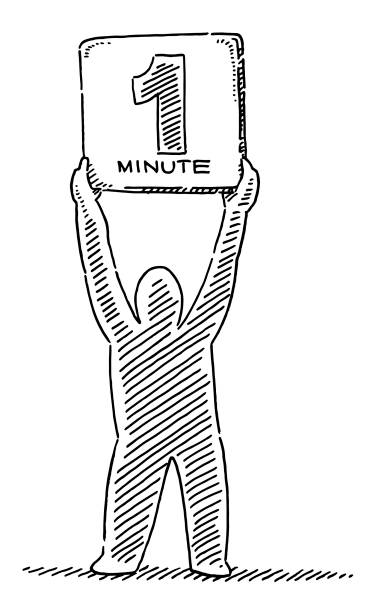 Human Figure Holding 1 Minute Sign Drawing Hand-drawn vector drawing of a Human Figure Holding a 1 Minute Sign before the start of a race. Black-and-White sketch on a transparent background (.eps-file). Included files are EPS (v10) and Hi-Res JPG. motor sport stock illustrations