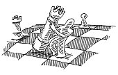 Human Figure Holding Chess Queen Drawing
