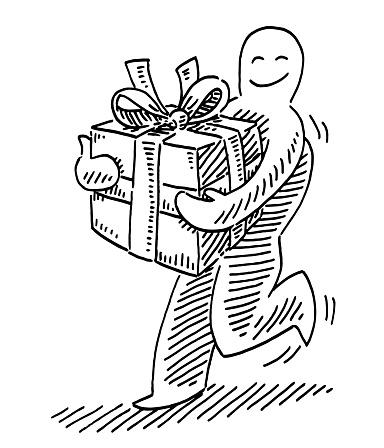 Human Figure Holding Gift Box Drawing