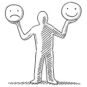 Human Figure Holding Happy And Sad Smiley Faces Drawing