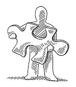 Human Figure Holding Jigsaw Piece Drawing