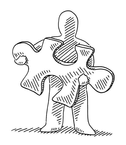 Human Figure Holding Jigsaw Piece Drawing Hand-drawn vector drawing of a Human Figure Holding a Jigsaw Piece. Black-and-White sketch on a transparent background (.eps-file). Included files are EPS (v10) and Hi-Res JPG. game stock illustrations