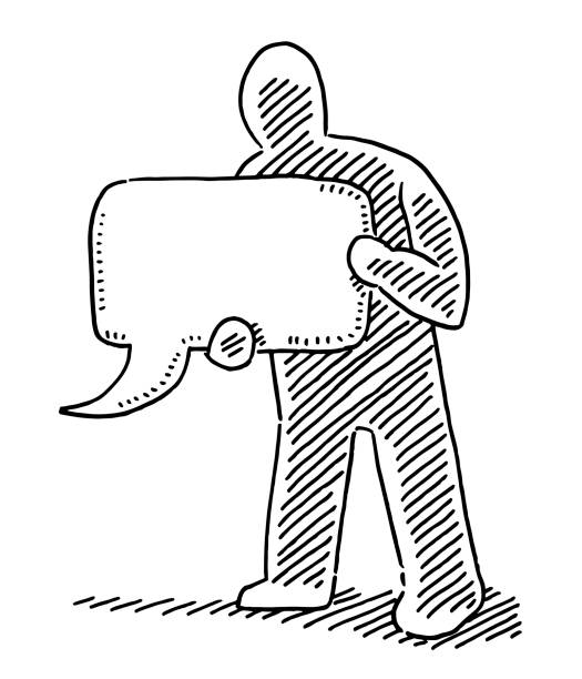 Human Figure Holding Speech Bubble Sign Drawing Hand-drawn vector drawing of a Human Figure Holding a Speech Bubble Sign. Black-and-White sketch on a transparent background (.eps-file). Included files are EPS (v10) and Hi-Res JPG. cartoon character figure stock illustrations
