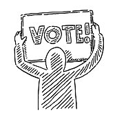 Human Figure Holding Vote Sign Drawing