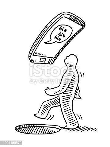 istock Human Figure In Danger Because Of Smartphone Addiction Drawing 1201189572