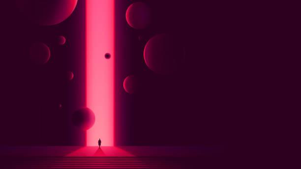 menschliche figur vor portal zu einer anderen dimension, raumtor mit einem leuchtend rosa glühen und fliegenden kugeln, futuristische abstraktion - surreal stock-grafiken, -clipart, -cartoons und -symbole